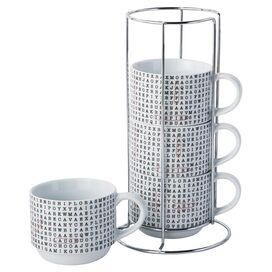 Word Search Porcelain Stacking Mug (Set of 4)