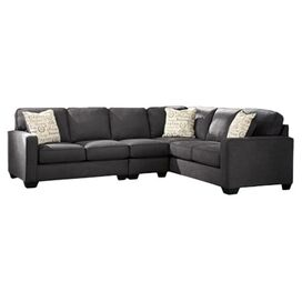 "Elise 91"" Sectional Sofa in Charcoal"