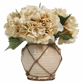 Faux Cream Hydrangea in Ceramic Vase