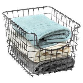 Wire Storage Basket in Cool Grey