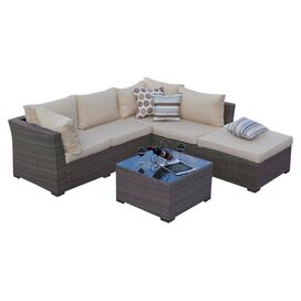 5-Piece Romy Wicker Patio Seating Group Set in Natural Rustic
