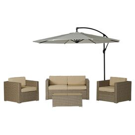 5-Piece Ava Wicker Patio Seating Group in Natural