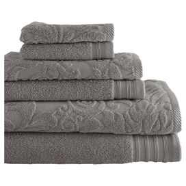6-Piece Simone Egyptian Cotton Towel Set in Platinum