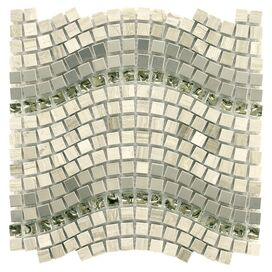 Wave Mosaic Glass & Stone Tile (Set of 10)