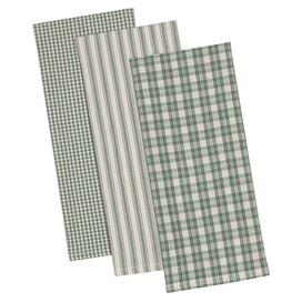 Plaid Dishtowel in Green (Set of 3)