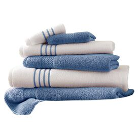 6-Piece Siara Egyptian Cotton Towel Set in Medium Blue