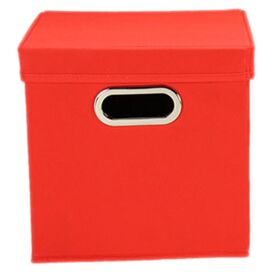 Lidded Storage Cube in Red (Set of 2)