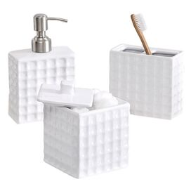 3-Piece Mia Bath Accessory Set in White