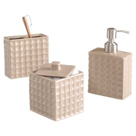 3-Piece Mia Bath Accessories Set in Taupe