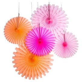 5-Piece Paper Fan Decor Set in Petal