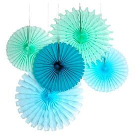 5-Piece Paper Fan Decor Set in Sea