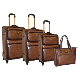 4-Piece Adrienne Luggage Set in Brown