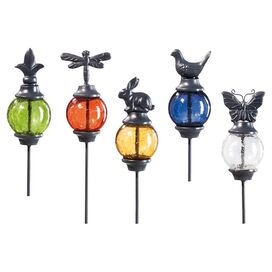 5-Piece Gazing Orb Garden Stake Set