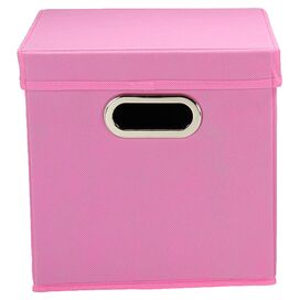 Lidded Storage Cube in Pink (Set of 2)