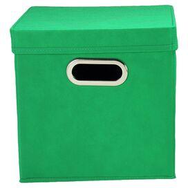 Lidded Storage Cube in Kelly Green (Set of 2)