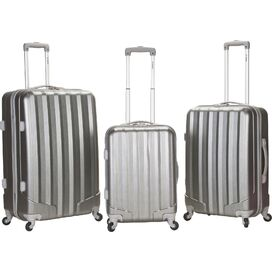 3-Piece Vegas Rolling Luggage Set in Silver