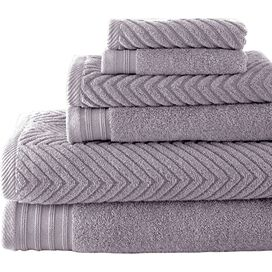 6-Piece Tristan Towel Set in Gray Violet