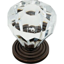 "Lydia 1.24"" Cabinet Knob in Clear & Bronze"