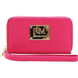 Esther Leather Wristlet in Pink