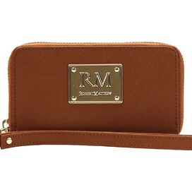 Esther Leather Wristlet in Brown