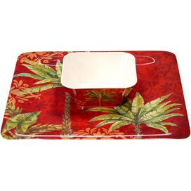 2-Piece Sunset Palm Chip and Dip Tray Set