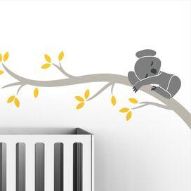 Snoozy Koala Wall Decal in Medium Gray
