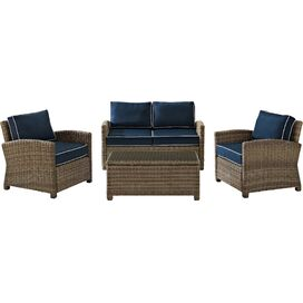 4-Piece Bethany Rattan Seating Group in Navy
