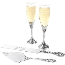 4-Piece Champagne Flutes and Cake Server Set