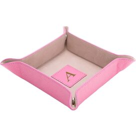 Personalized Tillson Leather Valet Tray in Pink