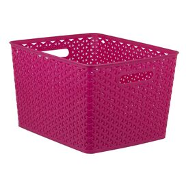 Woven Storage Basket in Pink