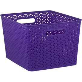 Extra-Large Woven Storage Basket in Purple