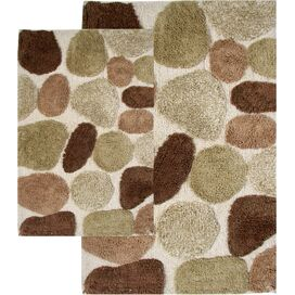 2-Piece Pebbles Bath Mat Set in Khaki