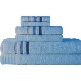 6-Piece Towel Set in Sky Blue