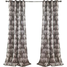 Elephant Parade Grommet Top Curtain Panel in Gray (Set of 2)