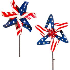 2-Piece Americana Kinetic Garden Stake Set