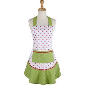 Polka Dot Ruffle Apron in Pink & Green