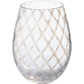 Stacy Stemless Wine Glass in White (Set of 4)