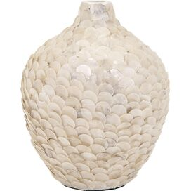 Capiz Vase in White