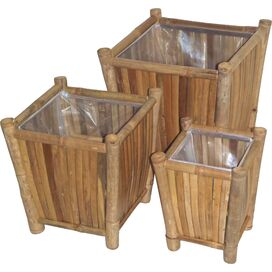 3-Piece Everett Bamboo Planter Set