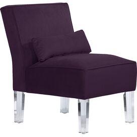 Zandra Velvet Accent Chair in Aubergine Purple