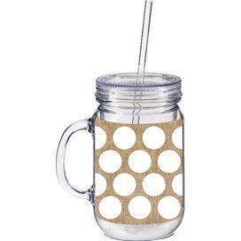 Liza Burlap Polka-Dot Drinking Jar