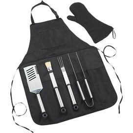 6-Piece Chef's Barbecue Apron & Tool Set in Black
