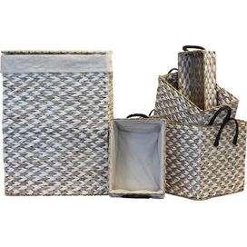5-Piece Rush Lined Hamper and Storage Set