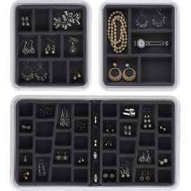 3-Piece Mila Jewelry Organizer Set in Charcoal
