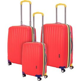 3-Piece Missy Rolling Suitcase Set in Red