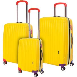 3-Piece Missy Rolling Suitcase Set in Yellow
