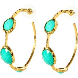 Cleopatra Hoop Earrings in Turquoise