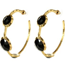 Cleopatra Hoop Earrings in Jet Black