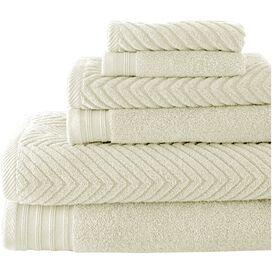 6-Piece Cotton Bath Towel Set in Ivory