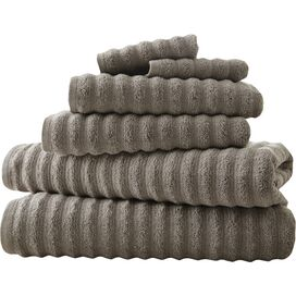 6-Piece Wavy Cotton Towel Set in Gray